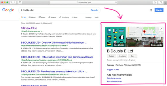 What is a Google business page