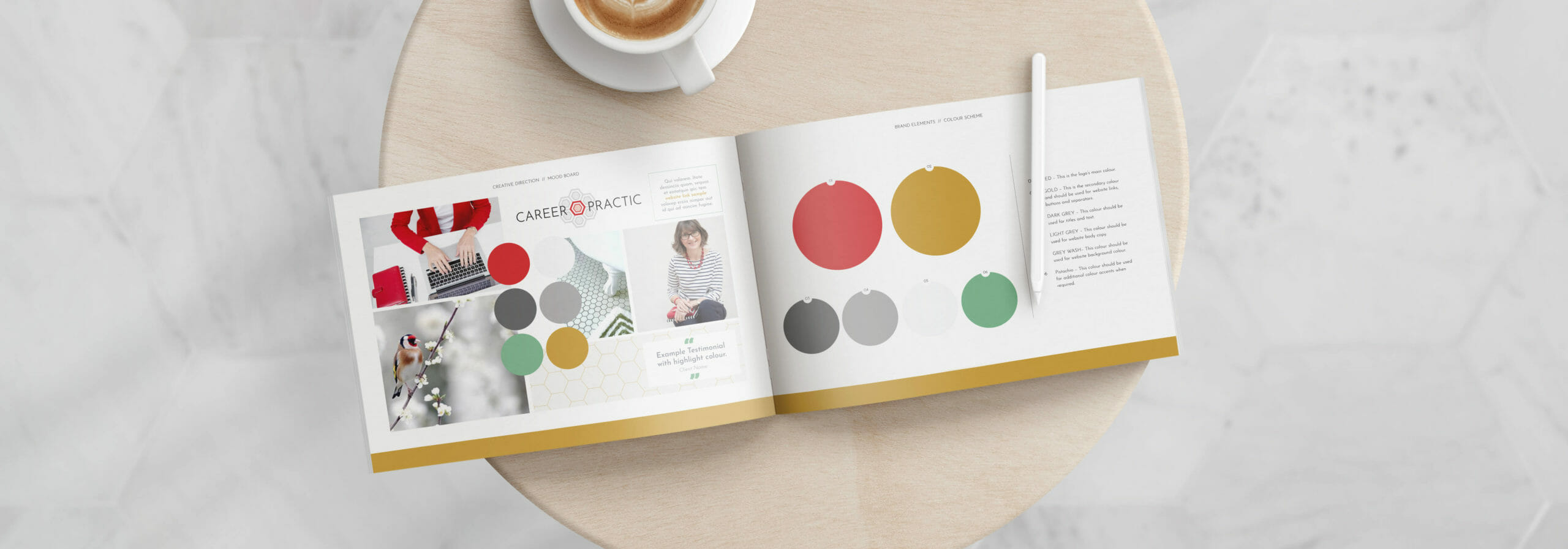 Career Practic brand identity and colour pallet