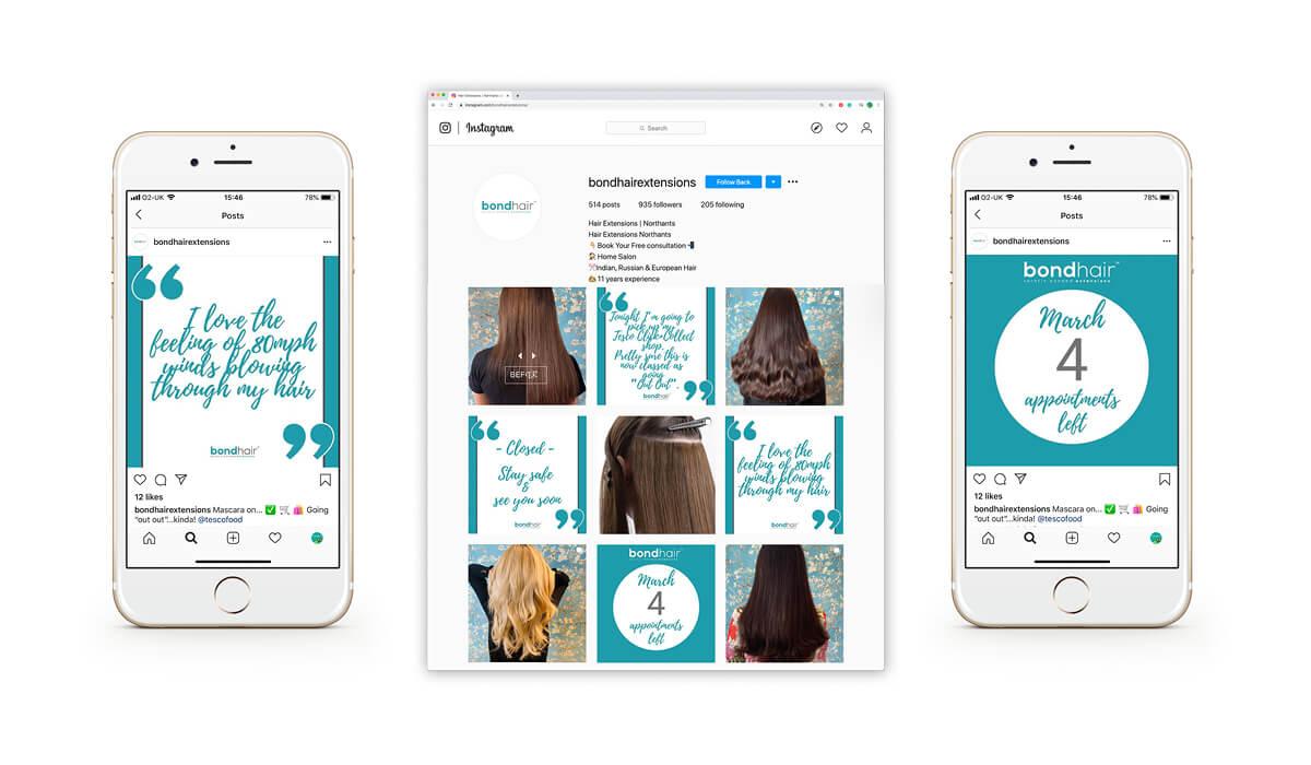 Bond Hair bespoke branded Instagram social media templates.