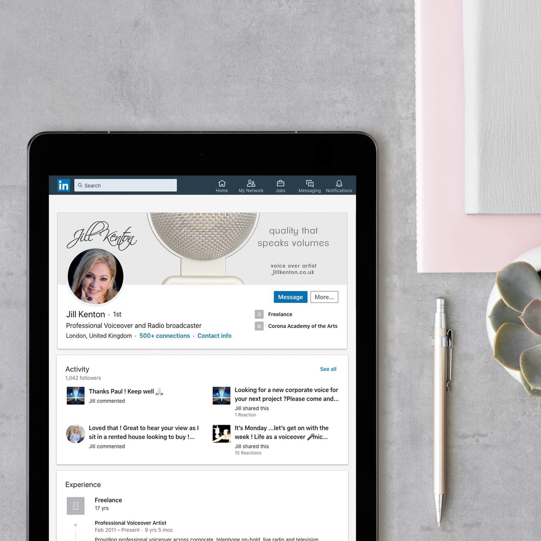 Jill Kenton voiceover bespoke LinkedIn banner design