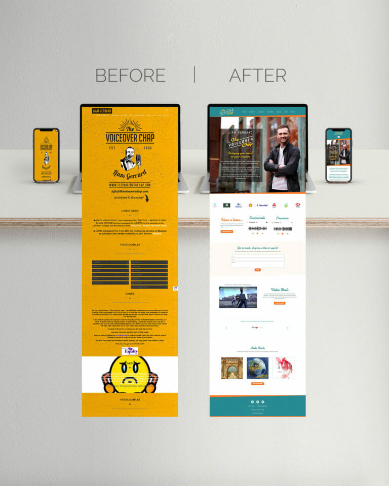 Website design before and after for The Voiceover Chap Liam Gerrard