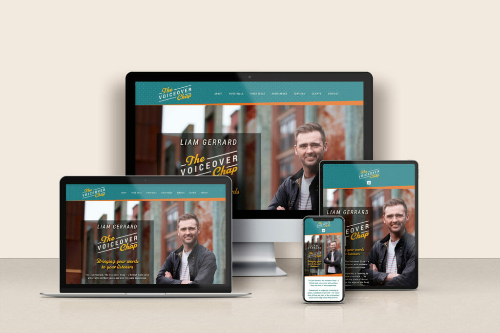 Website design optimised for multiple devices for The Voiceover Chap Liam Gerrard