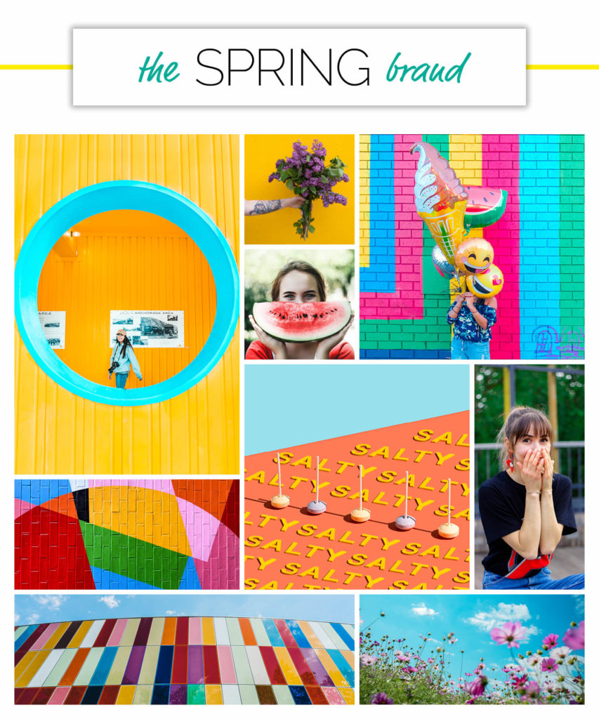 Spring voice over brand personality season moodboard.