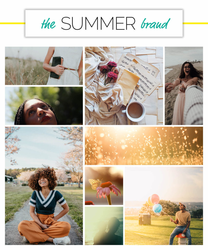 Summer voice over brand personality season moodboard