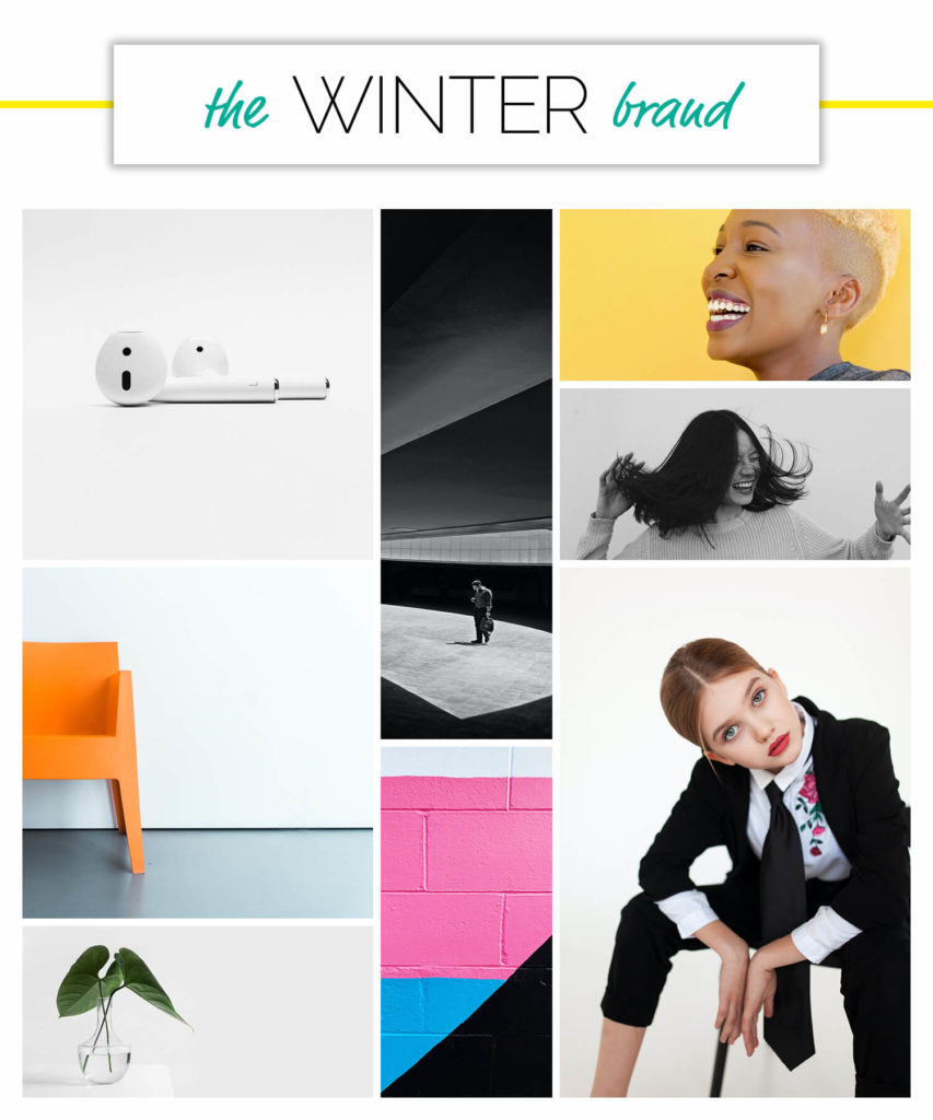 Winter voice over brand personality season moodboard.