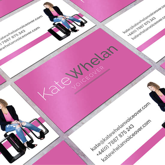 Kate Whelan voice over logo and brand and social template design