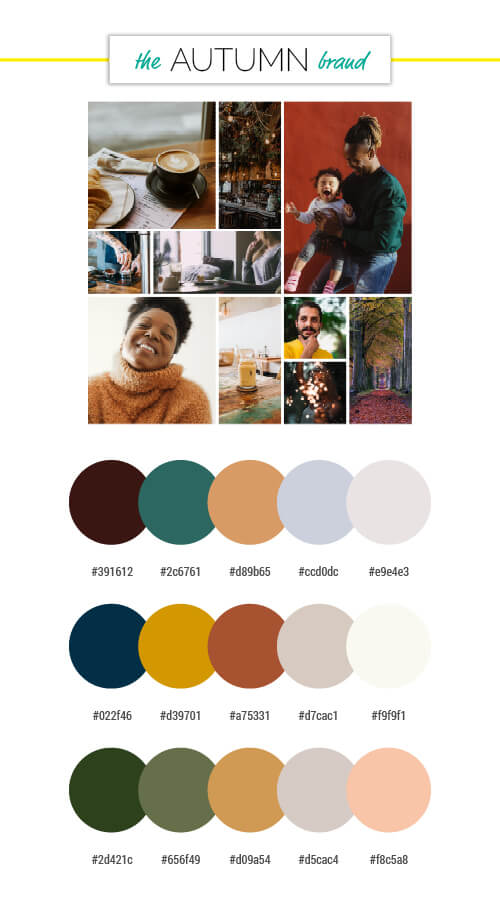 voiceover brand personality autumn season colour palettes