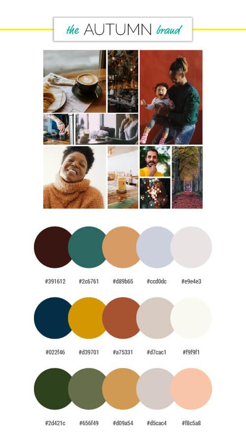 voiceover brand personality autumn season colour palettes