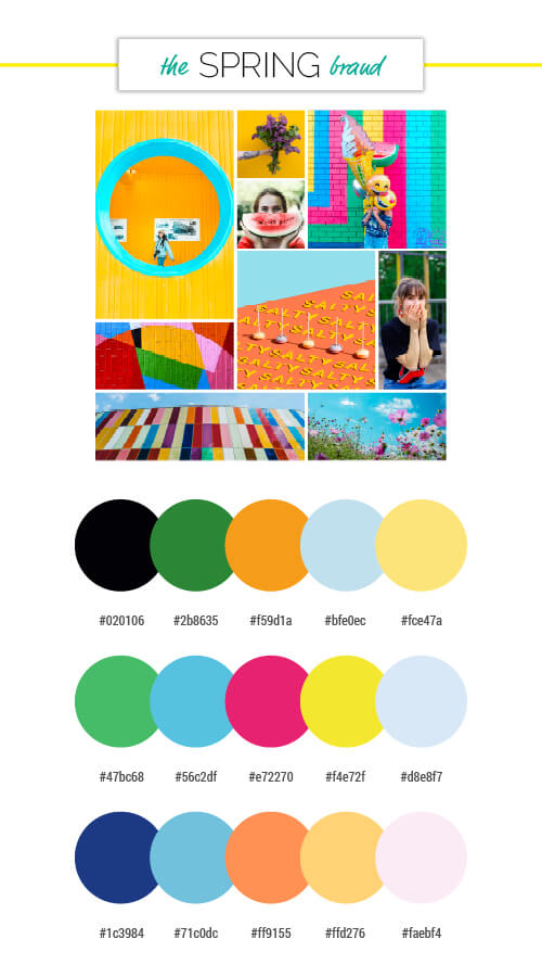 voiceover brand personality spring season colour palettes