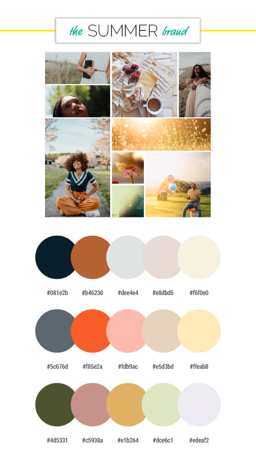 voiceover brand personality summer season colour palettes