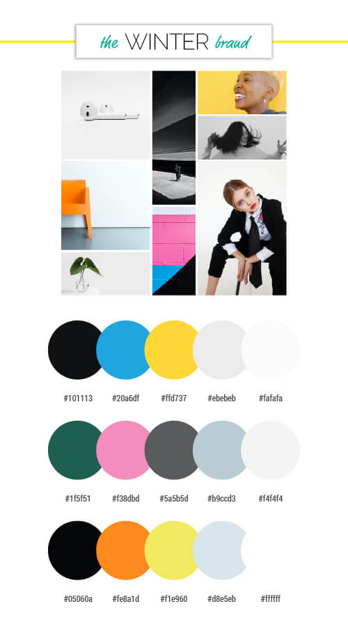 voiceover brand personality winter season colour palettes