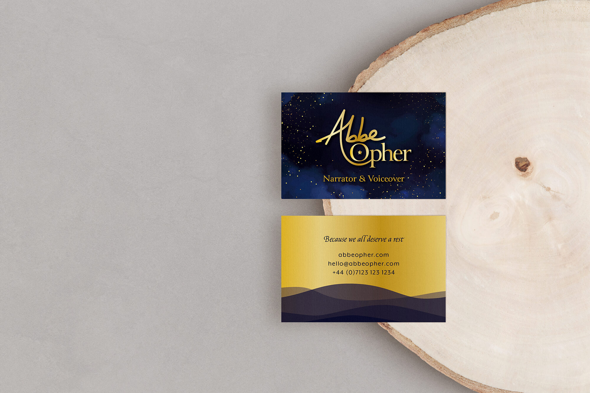 Abbe Opher voiceover and narrator business cards
