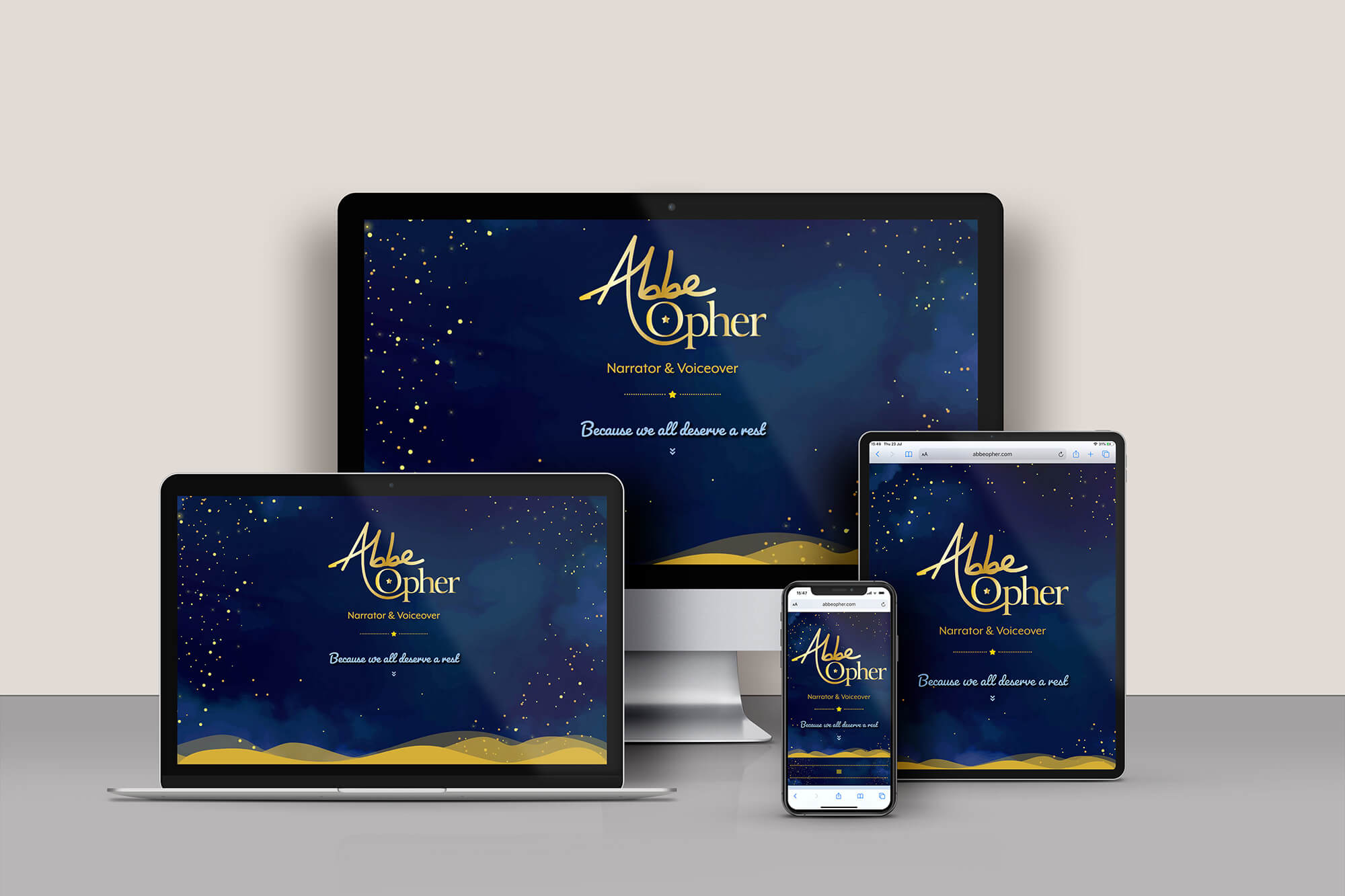 Abbe Opher voiceover website responsive design