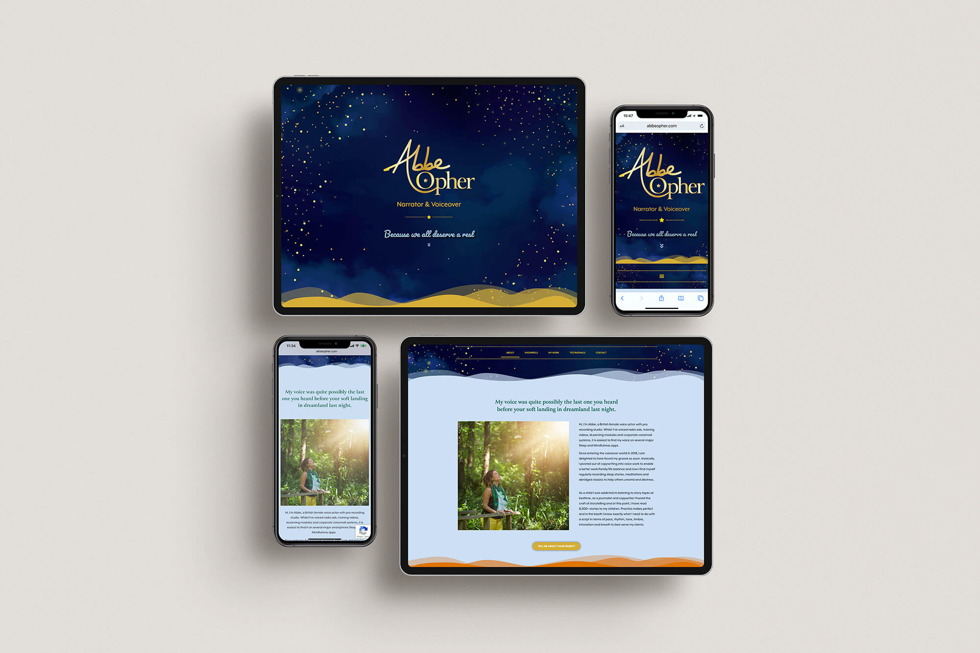 Abbe Opher voiceover website responsive design.