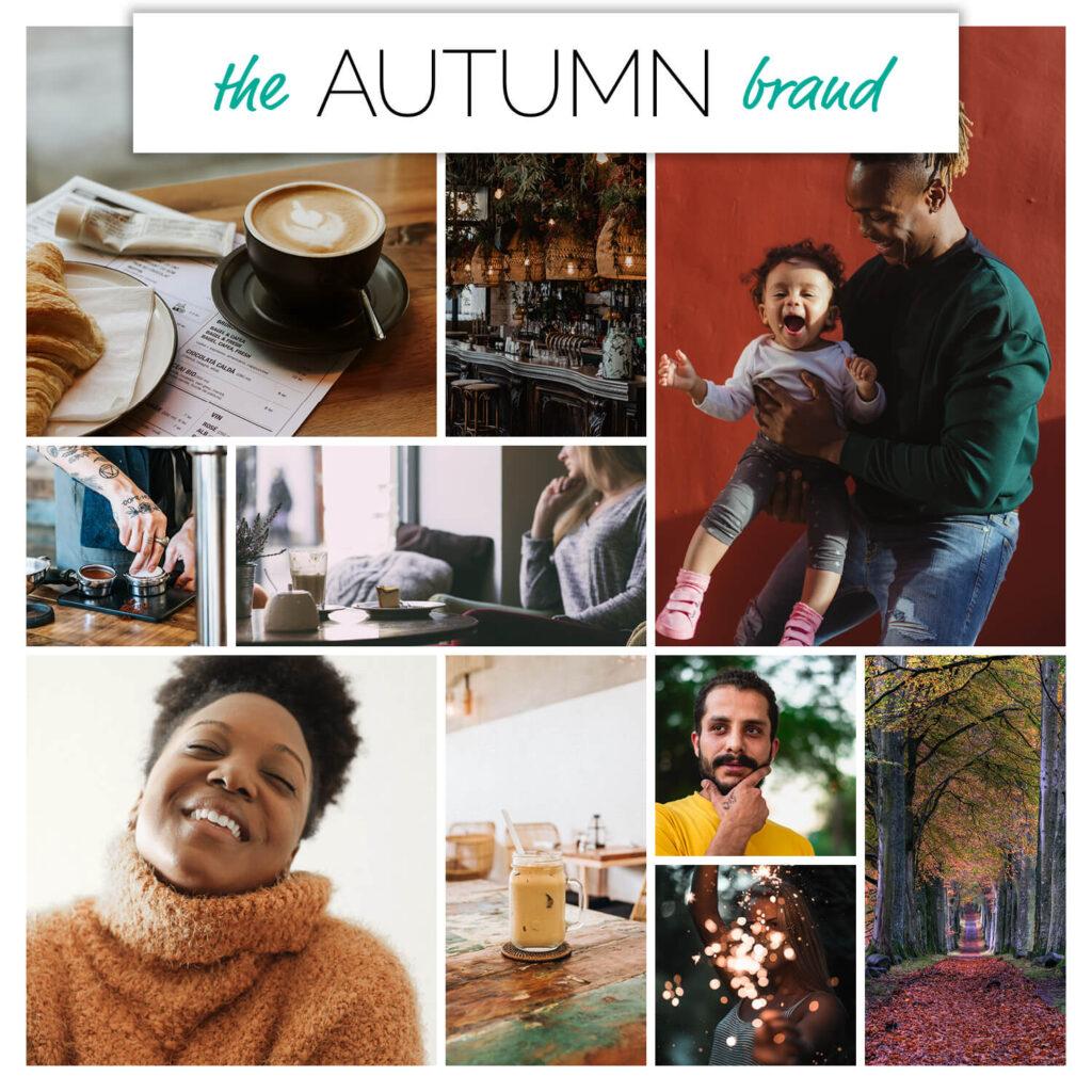 Autumn season brand personality mood board