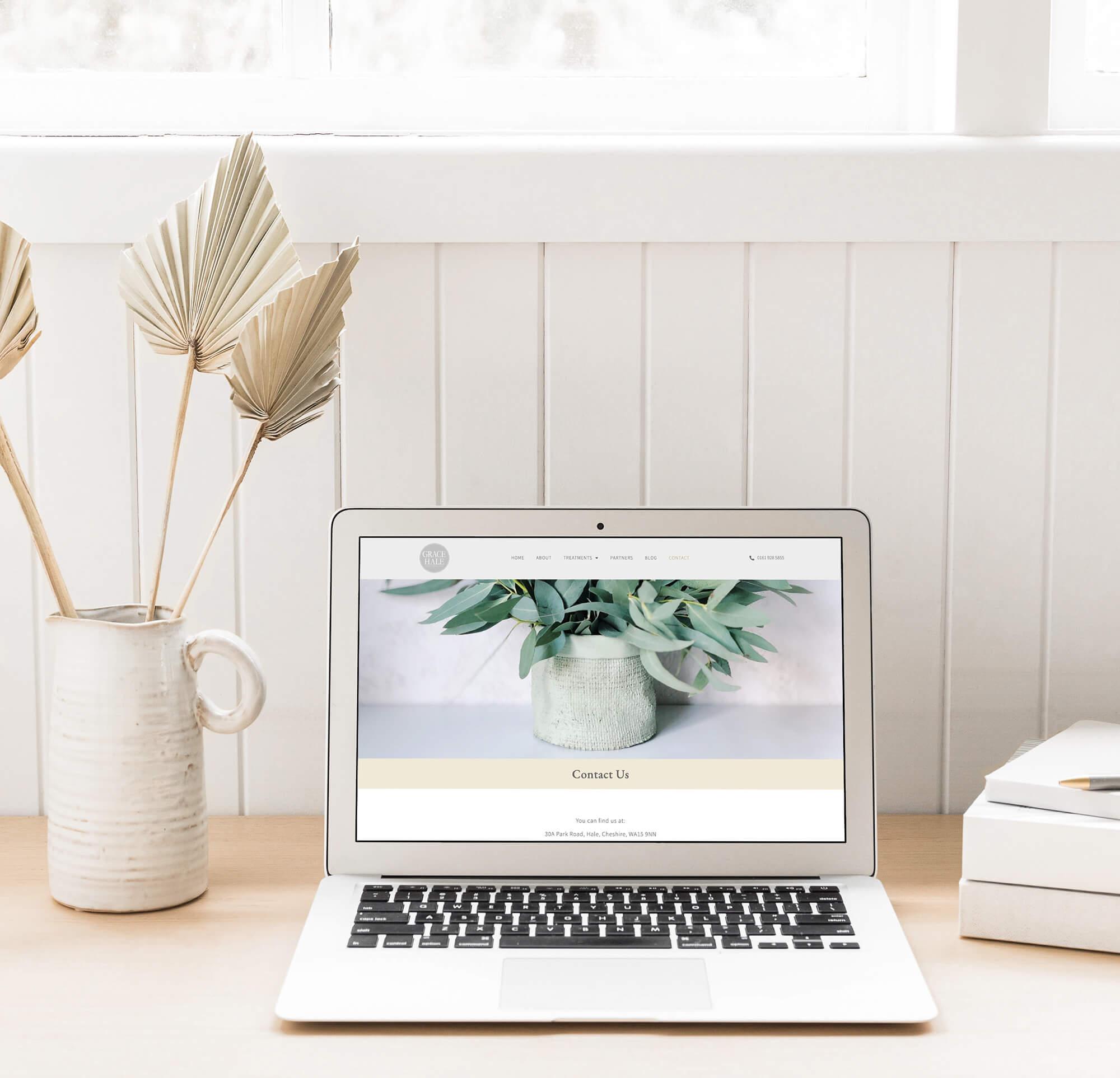 Grace Hale beauty salon website design on laptop