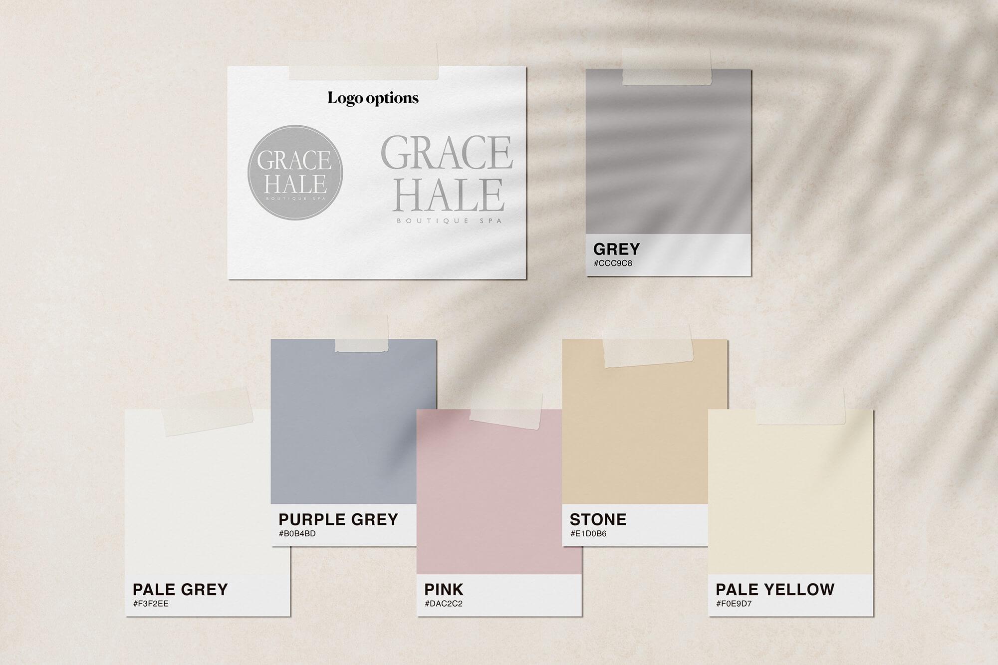 Grace Hale beauty salon website design colour palette