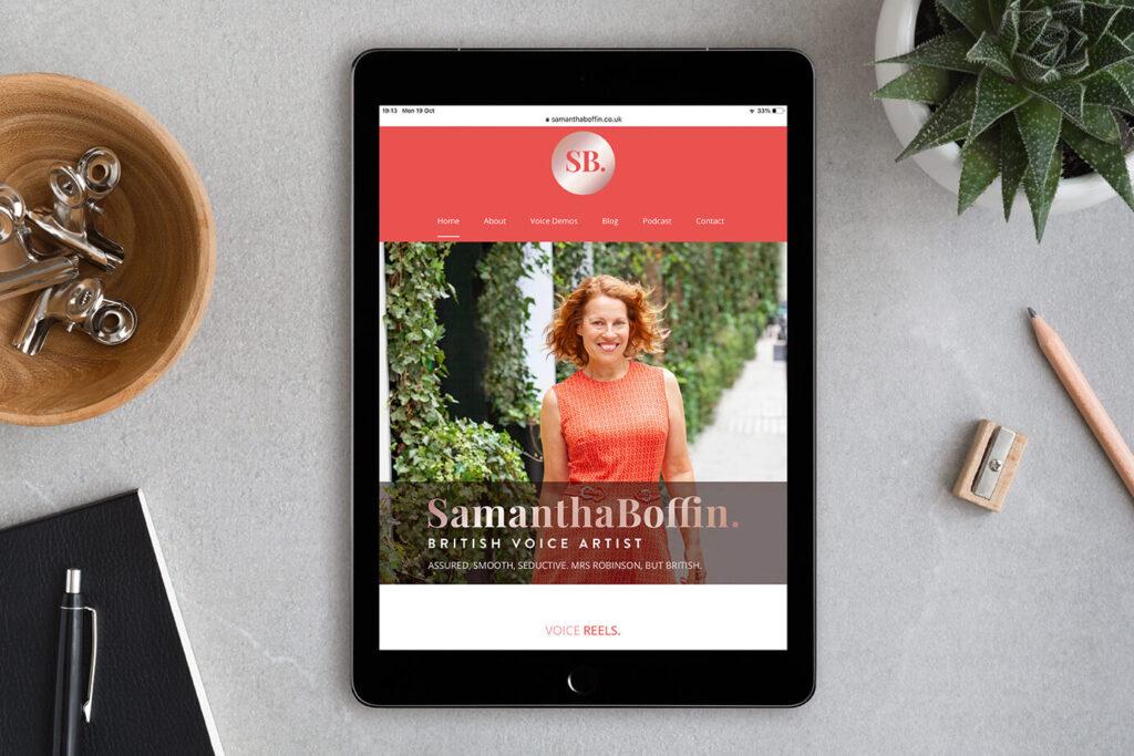 Samantha Boffin voiceover website ipad homepage