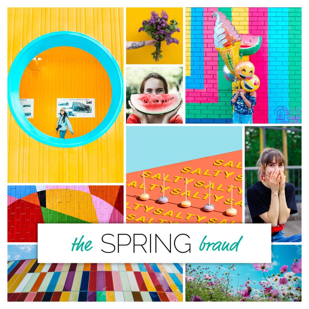 Spring season brand personality mood board