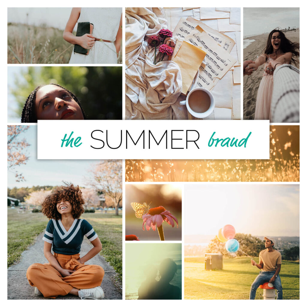 Summer season brand personality mood board