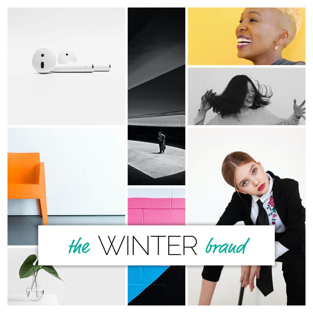 Winter season brand personality mood board