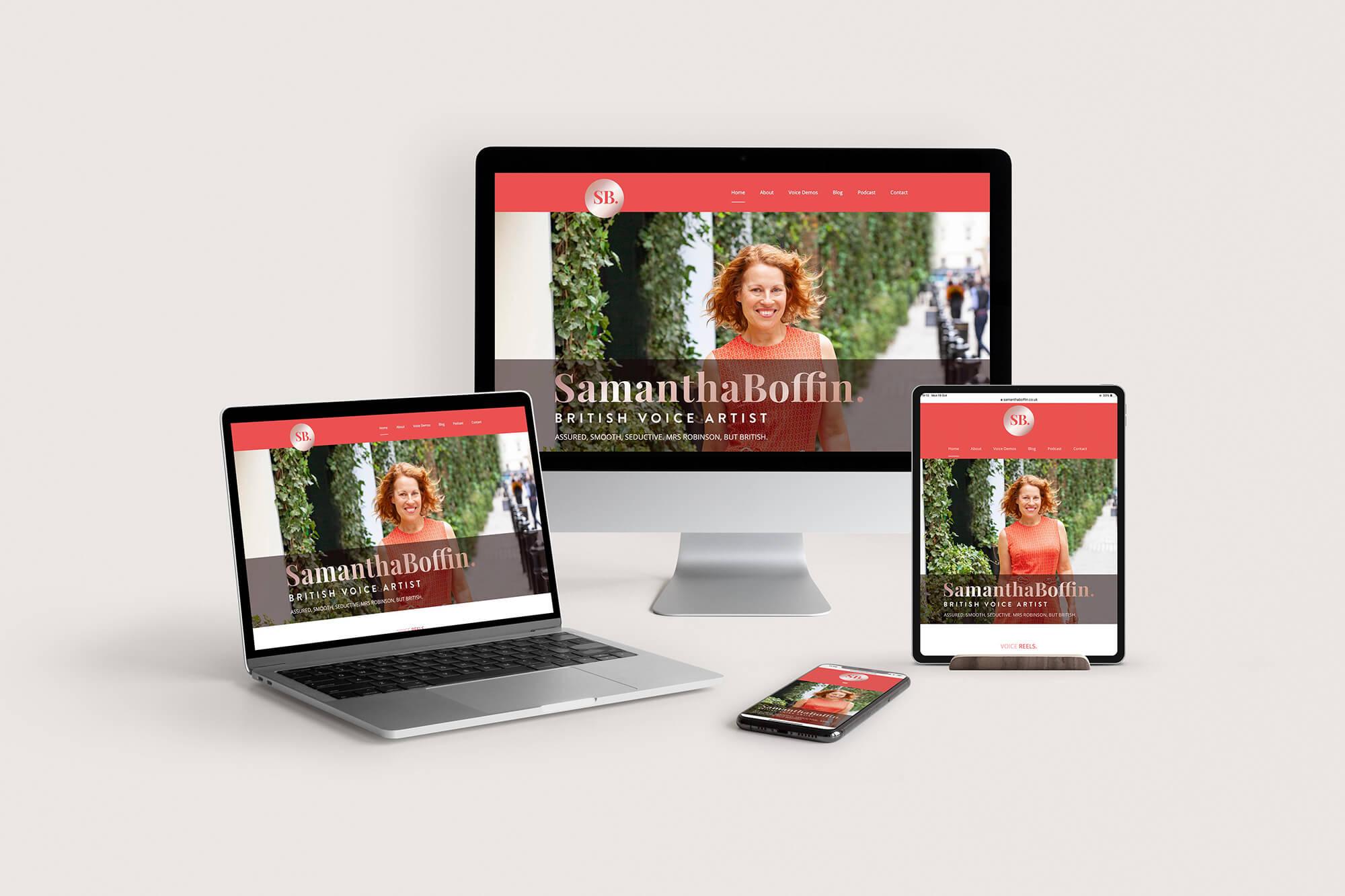 Samantha Boffin voiceover website on ipad, mobile, laptop and desktop