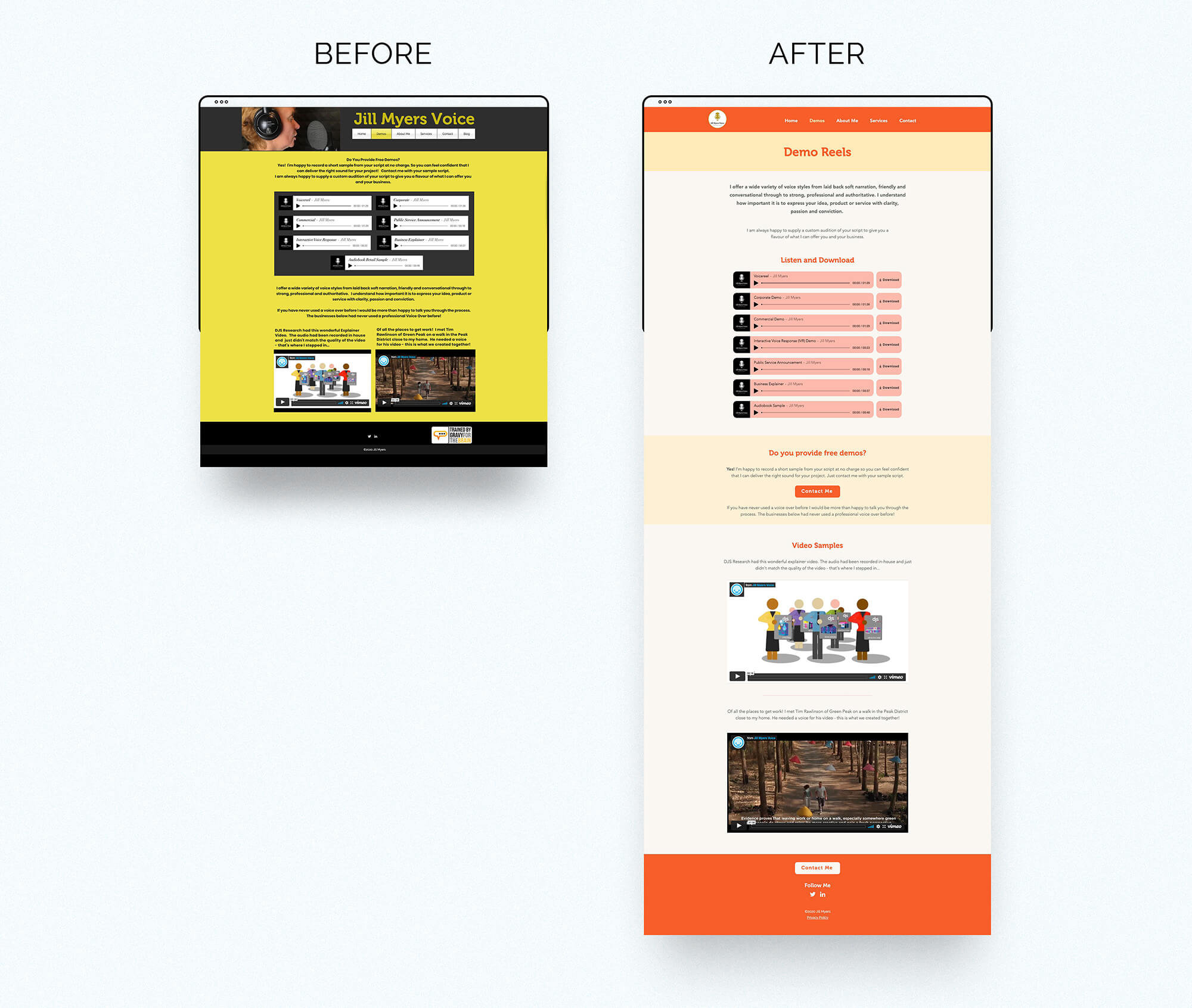 Jill Myers voice over website before & after demo page