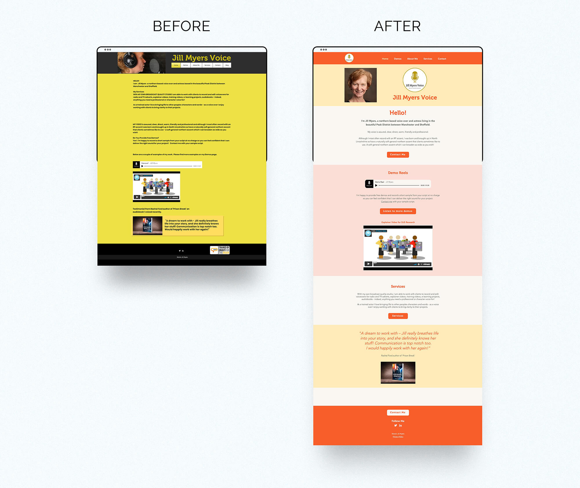 Jill Myers voice over website before & after homepage
