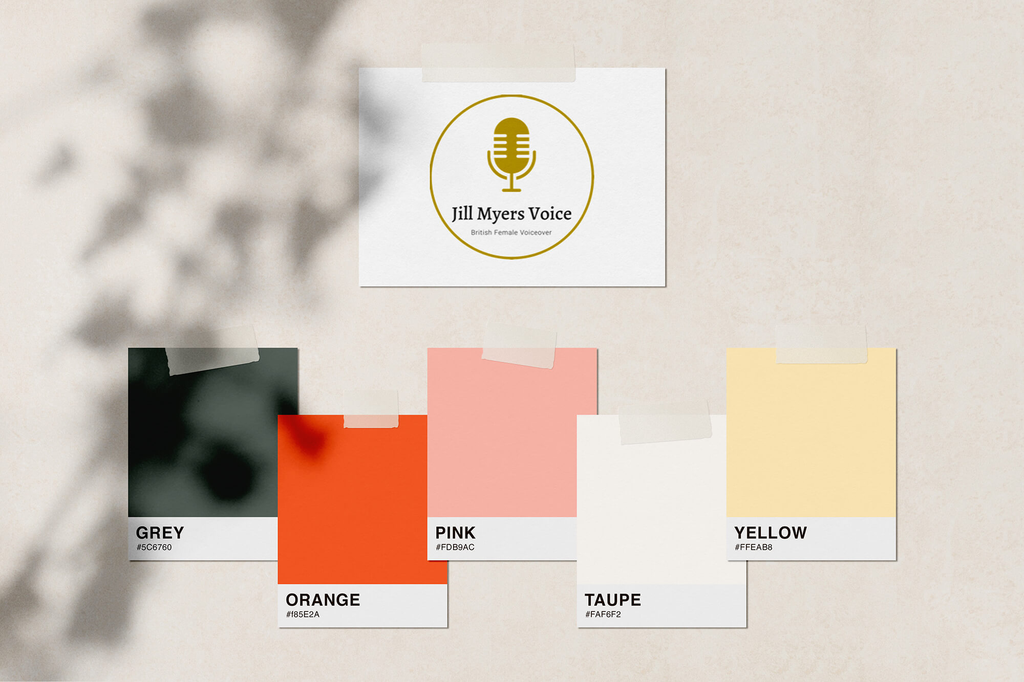 Jill Myers voice over website colour palette
