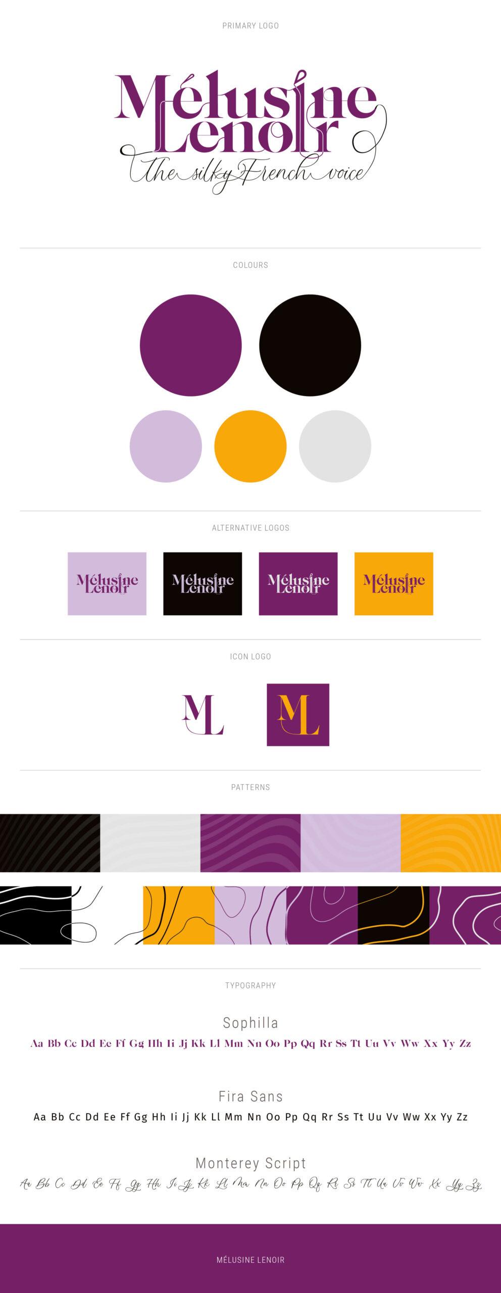 Melusine Lenoir voiceover branding logo board