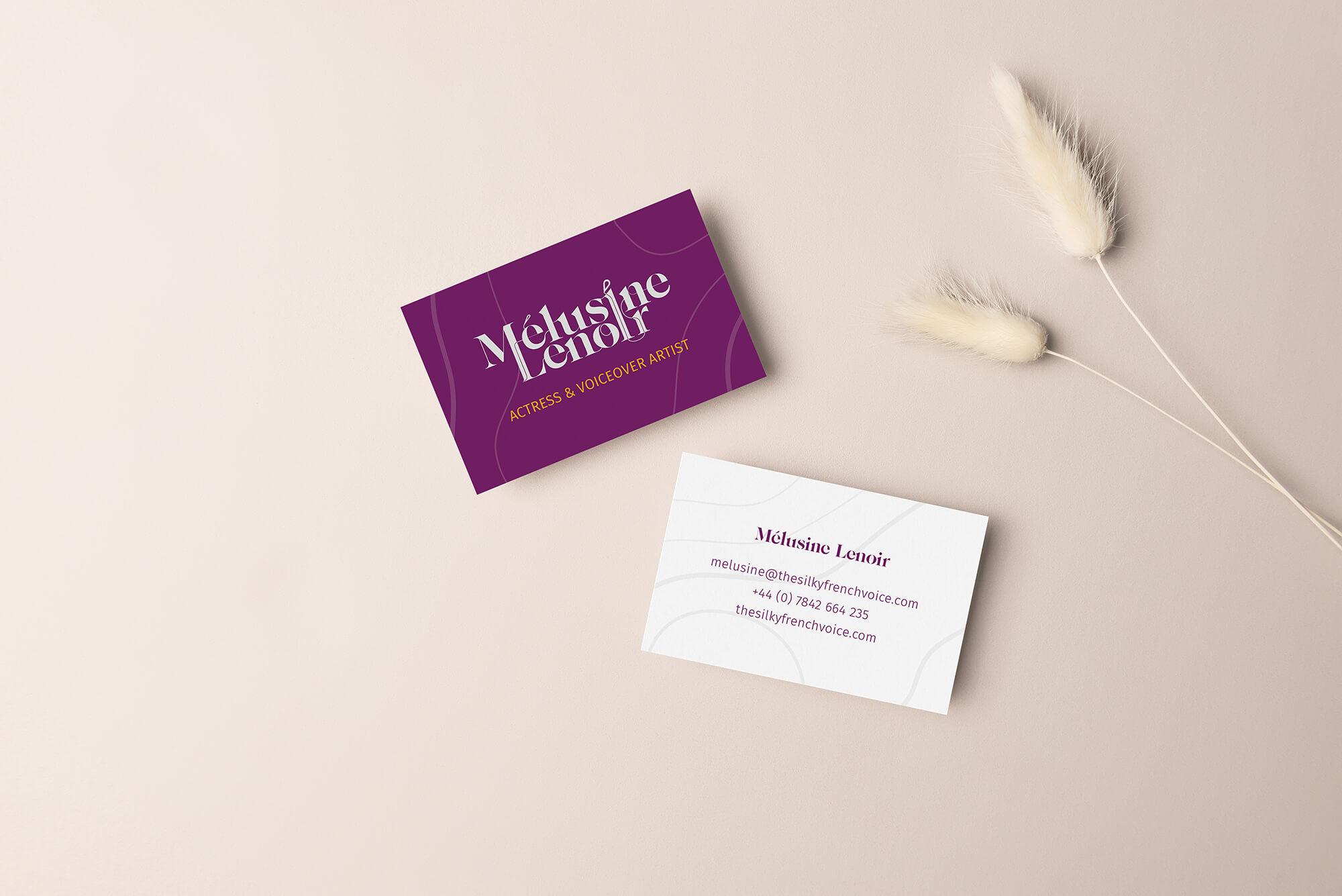 Melusine Lenoir voiceover branding logo business cards