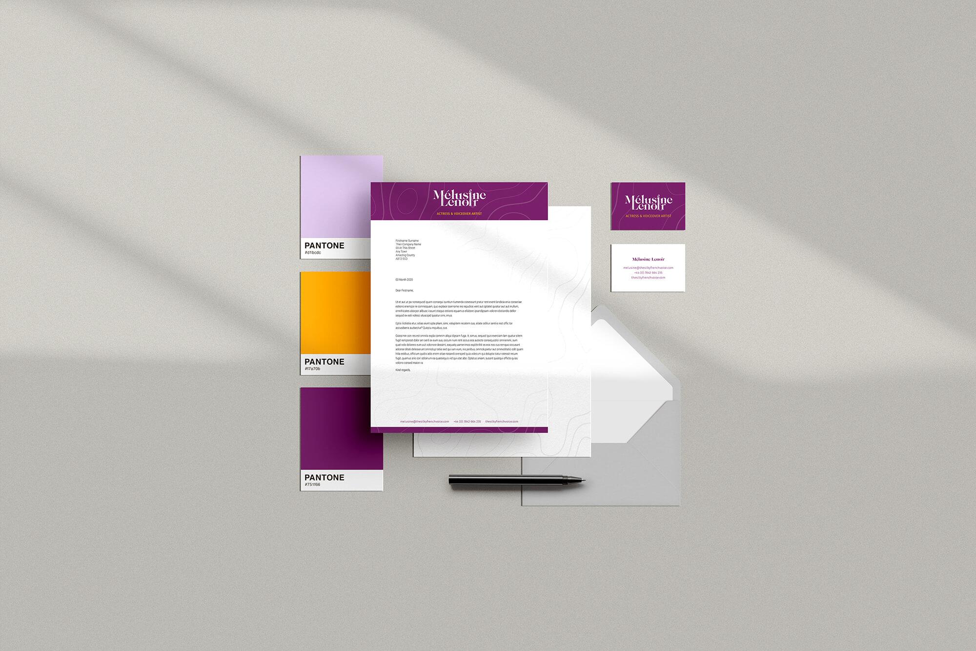 Melusine Lenoir voiceover branding business stationery