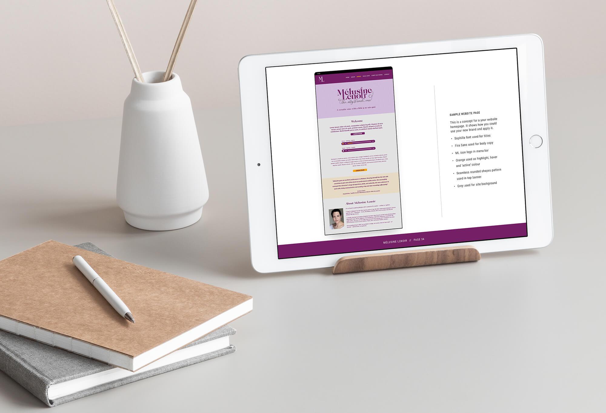 Melusine Lenoir voiceover branding logo website guidelines