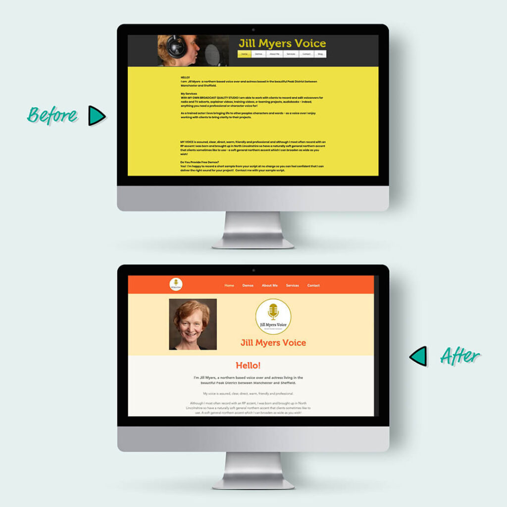 Jill Myers voice actor home page - before and after