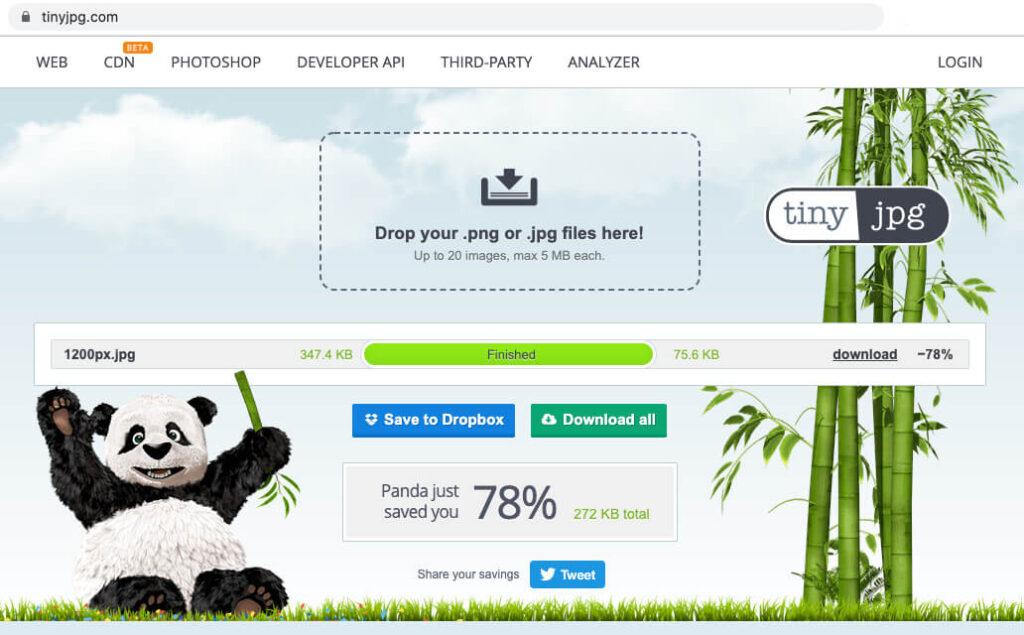 Screenshot of tinyjpg.com