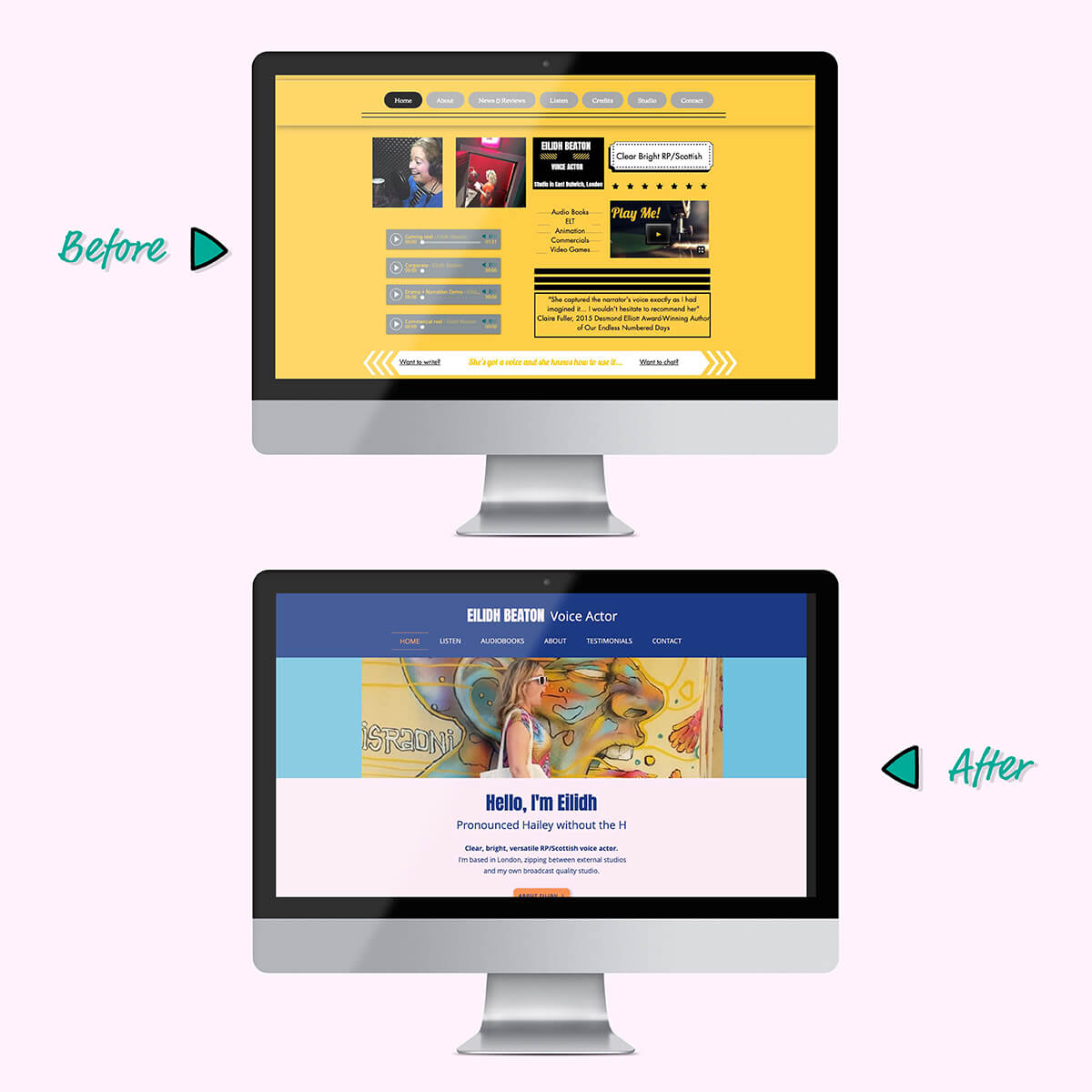Eilidh voice actor website before and after home page