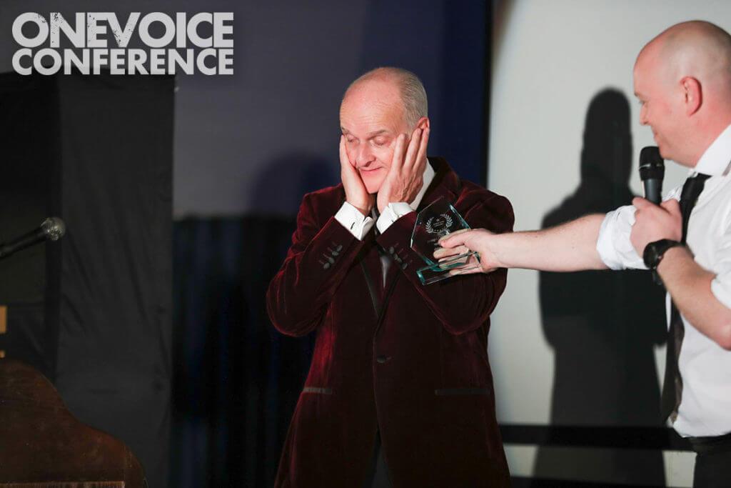 Peter Dickson receiving Voiceover Legend Award 2019