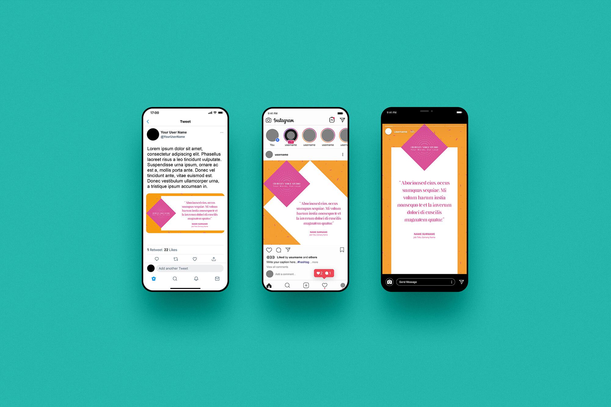 Crawley Voice Studio social media templates